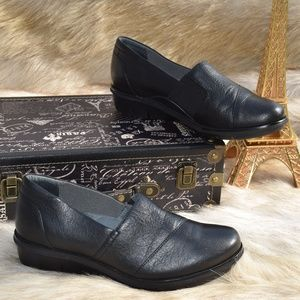 DANSKO Black Leather Wedge Slip On Mules Comfort